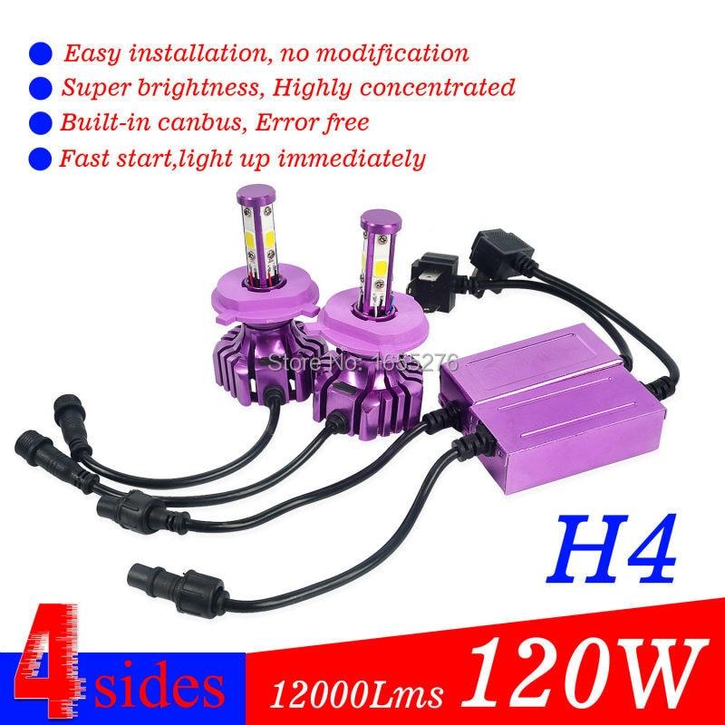 ФОТО Taitian H4 HB2 120W 12000LM Car LED Headlight 4-Side Chip Bulbs Globes 6000K Hi Low Beam