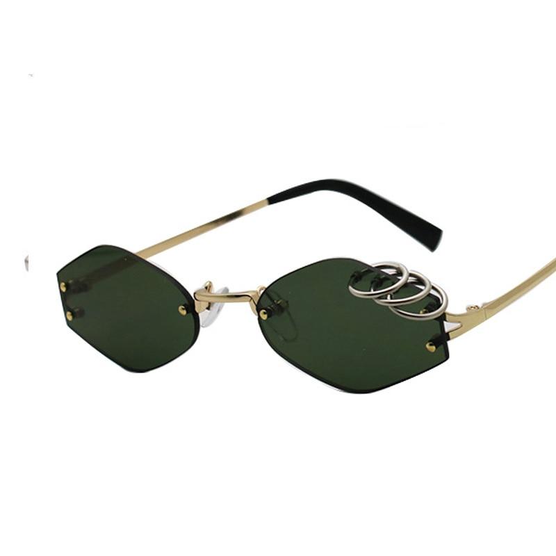 SHAUNA Unique Iron Rings Decoration Women Rimless Sunglasses Retro Men Dark Green Punk Glasses UV400