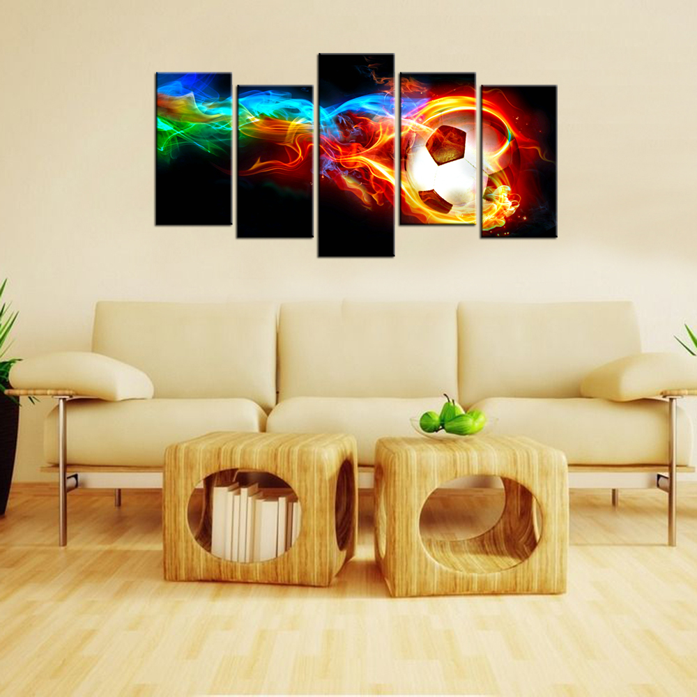 5 Piece Modern Canvas Wall Art Colorful Flame Football Picture ...