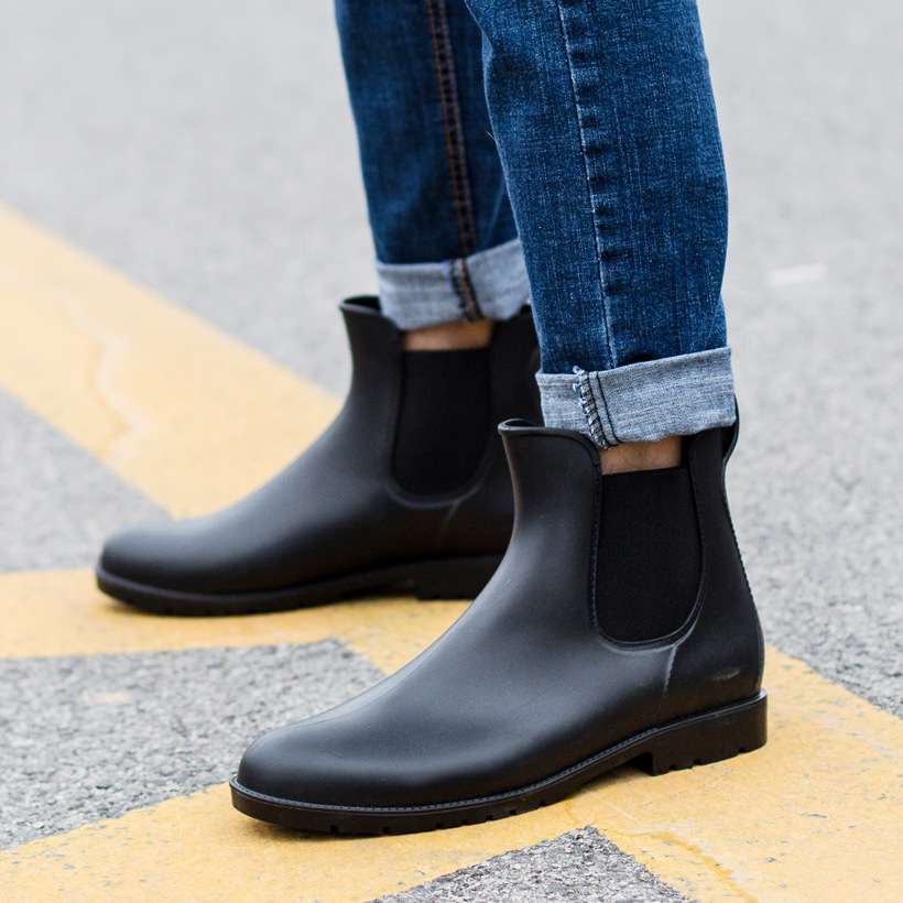 ad3f9c6dd5f579 Men's Rain Boots Black Chelsea Boots for Male Slip on PVC Waterproof Ankle  Boots Rainy day Men Shoes Rainboot botas hombre 102m on Aliexpress.com |  Alibaba ...