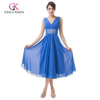 Grace Karin Sleeveless Double V Neck Royal Blue Short Prom Dresses 2015 Chiffon Formal Gown Mother