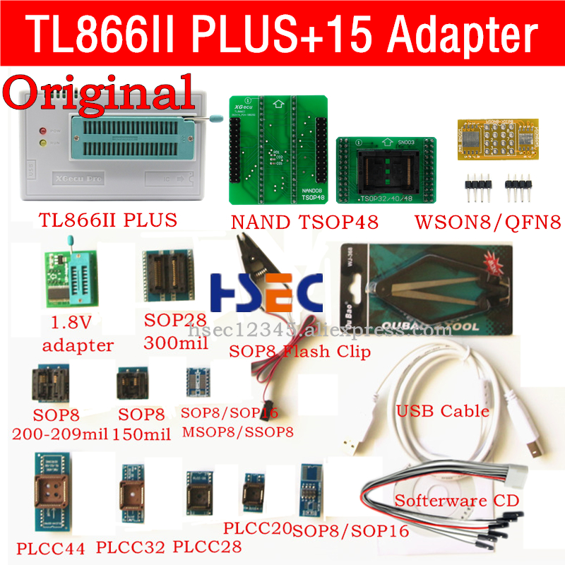 New original XGecu TL866ii Plus usb isp programmer NAND TSOP48 Adapter socket minipro TL866CS TL866A TL866 universal programmer-in Integrated Circuits from Electronic Components & Supplies