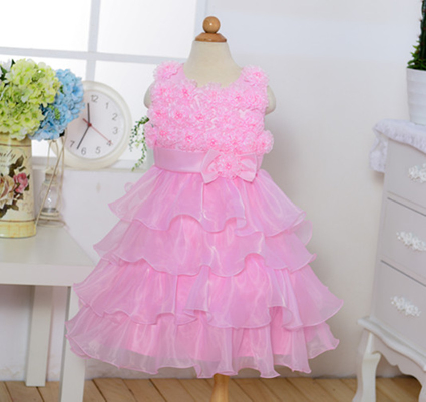 2017 New White Girl Dress Floral Children Clothing Summer Kids Dresses For Girls Princess Birthday Party Wedding Dresses Clothes
