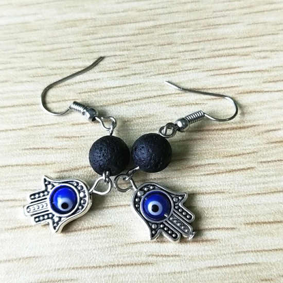 Fashion evil eyes hamsa Fatima handpendant necklace natural stone lava hand charms necklace for women girls blue eye jewelry