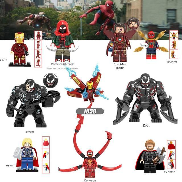 Famoso playmobil minibrickfigure abominação blocos marvel super heroes homem de ferro homem aranha veneno capitão thor