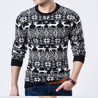 Male 2016 Men S Fashion Animal Print Sweater Men Leisure Slim Pull Male O Neck Long