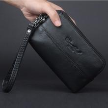 Genuine Leather Mobile Cell Phone Case Men Small Handy Bag Waist Pack Hip Bum Hook Purse Skin Belt Male Wallet Fanny Clutch Bags