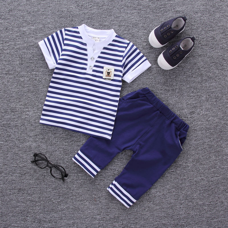 2018 Summer new fashion baby boys clothes set cotton material with striped print infant clothing set A002 contrast striped print bedding set
