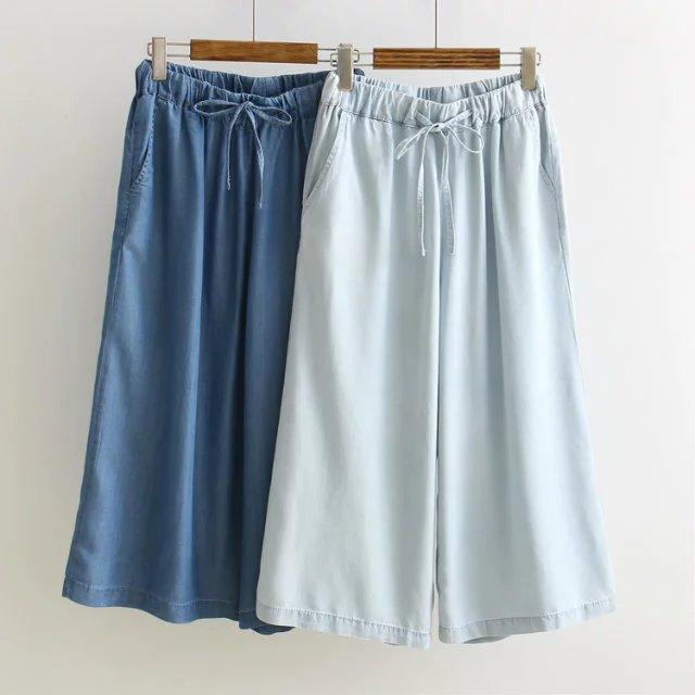 2017 Summer New Elastic Waist Drawstring Tencel Denim Soft Wide Leg Pants Female Seven Pants inc international concepts new navy elastic waist tapered leg soft pants 10 $69