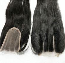 Hot Sale Brazilian Virgin Human Lace Closure Three Part Natural Color 4X4 Silky Straight Top Closure Free Shipping