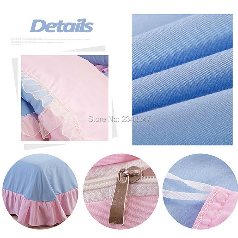 Pur coton doux princesse Rose dentelle drapé 4 Pc complet/reine taille lit couette/couette/Doona housse ensemble & drap solide violet bleu Rose rouge - 5