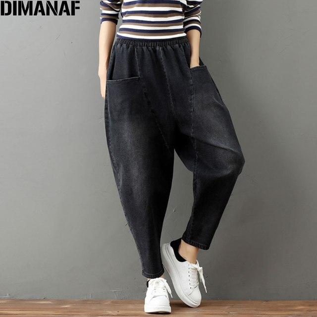 8ab608401e8 DIMANAF Plus Size Women Jeans Autumn Harem Pants Fried Chicken Trousers  Elastic Loose Solid 2017 Black Winter Harem Denim Jeans