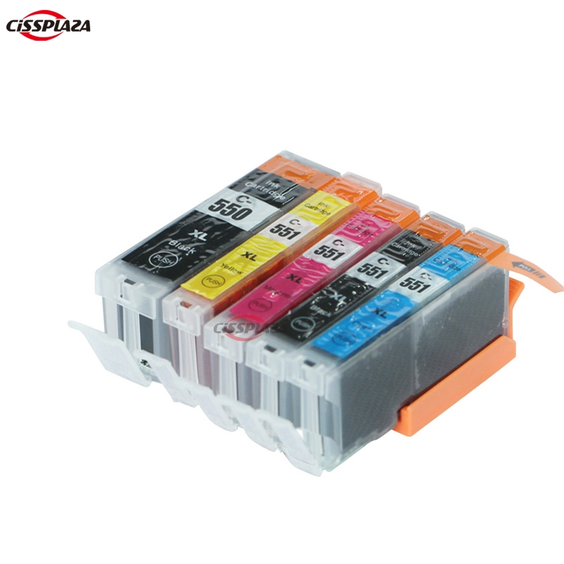 CISSPLAZA 5 x совместимый чернильный картридж PGI550 для Canon Pixma 7250 MG5450 MG6350 mx725 MX925 для Европы