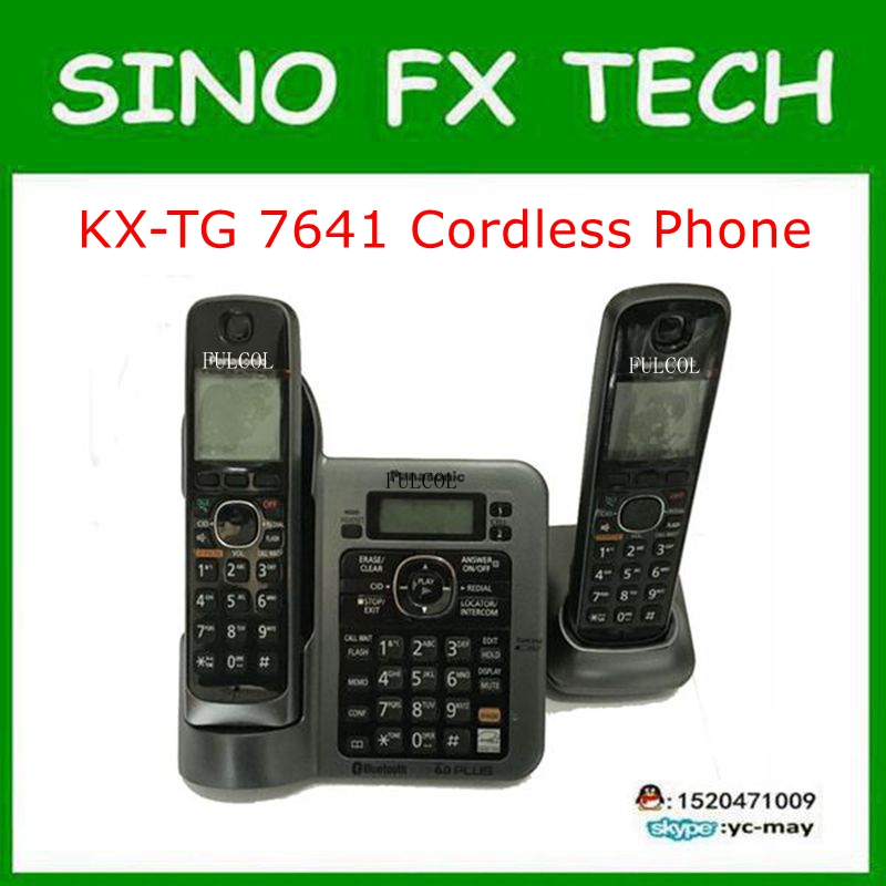 2 Handsets KX-TG7641 series DECT 6.0 link-to-cell Digital wireless phone Cordless Phone 98% New 2 handsets kx tg4021 digital cordless phone with answering system dect 6 0 silver