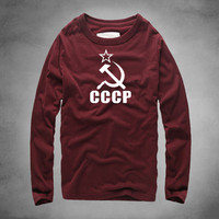 1 CCCP T Shirts Full Sleeves Long High Quality Printed Cotton O Neck Top Warm USSR Soviet Union KGB T shirt Thick Moscow Russia