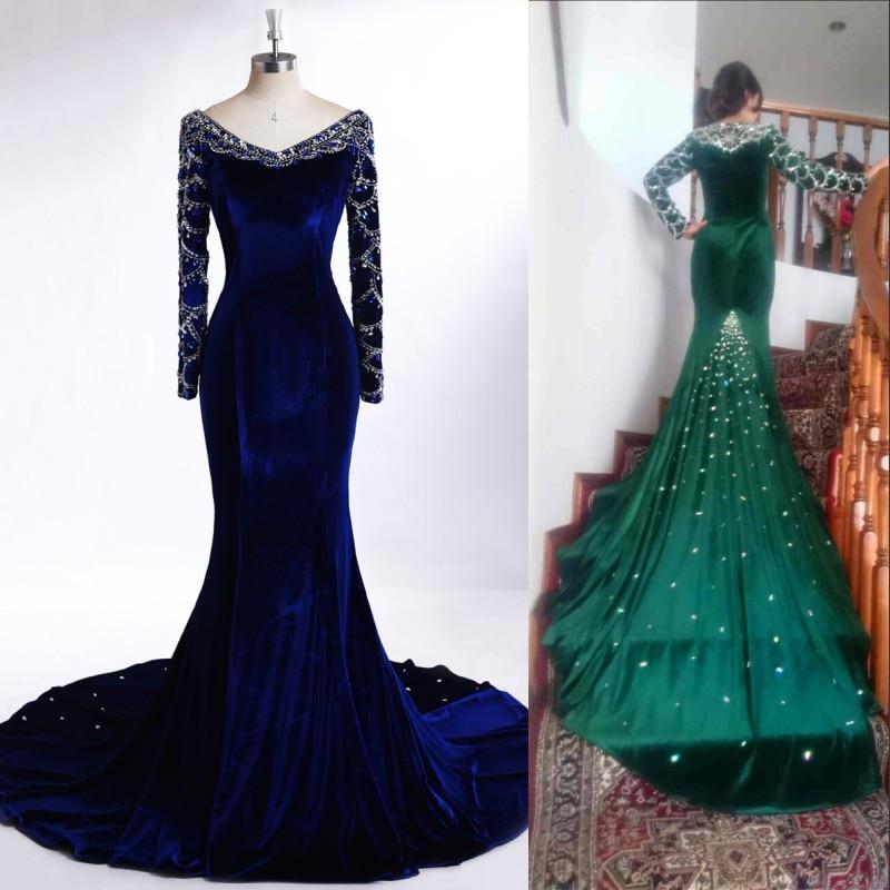 Royal Blue Long Sleeve Evening Dress