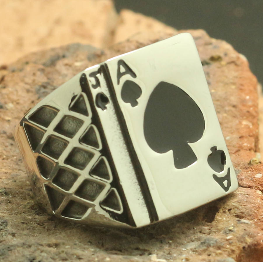 316L Stainless Steel Cool Silver Poker Ring