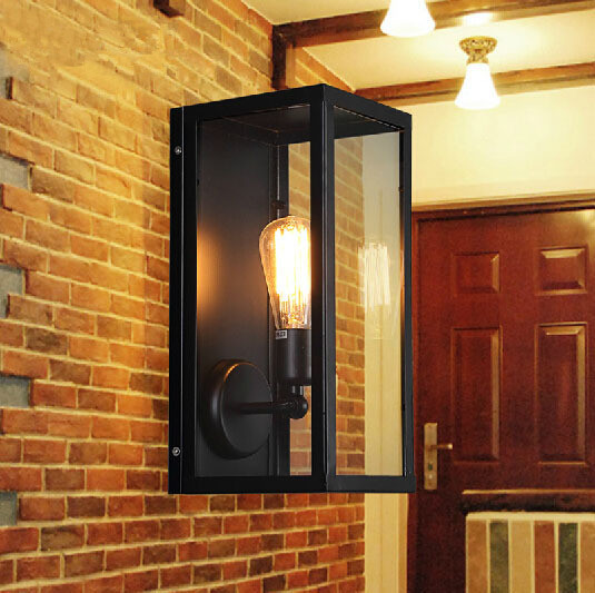 Outdoor Fixtures Lighting: Vintage Loft Filament Narrow Box Wall Lamps Industrial Glass Wall Sconce  for Home Outdoor Light Fixture,Lighting
