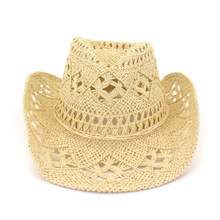 Women Hollow Out Straw Hat Summer Wide Brim Beach Cap With Bow Unisex UV Protection Sun