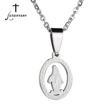 Letdiffery Hollow Vrigin Mary Talisman Necklace Stainless Steel The Queen Of Grace Pendant Colar For Women's Gift(China)