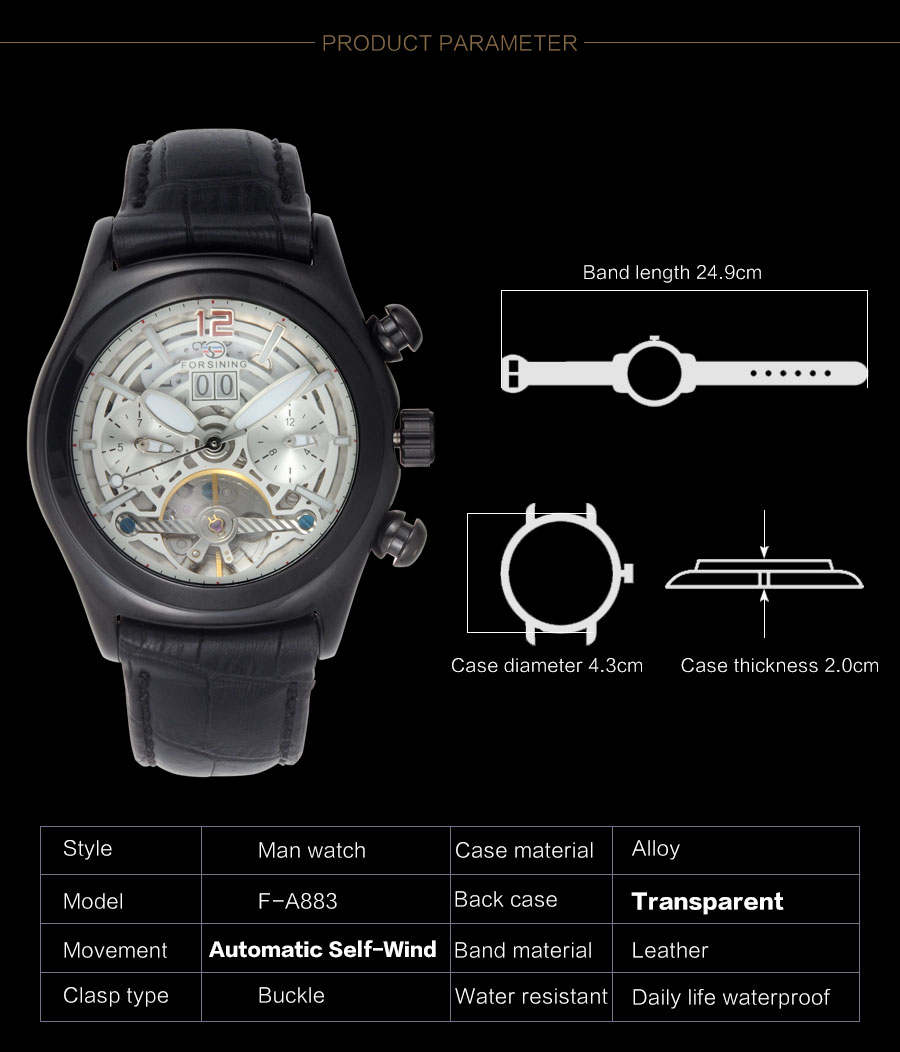 Forsining Convex Glass Stylish Tourbillion 3D Genuine Leather Strap Mens Watches Top Automatic Watch Clock (3)