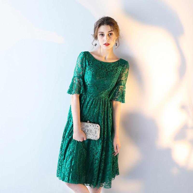 premium selection 63297 41eef US $56.05 5% di SCONTO|Pizzo Abito Da Sera Corto Della Sposa Banchetto  Elegante Verde Smeraldo mezza Manica Abito Del Partito Formal Dress Robe De  ...
