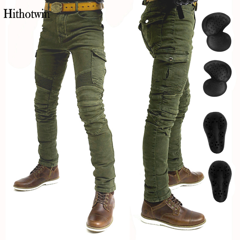 Motorcycle jeans 2018 new Army green UBS 06 jeans men motorcycle jeans protection equipment moto pants