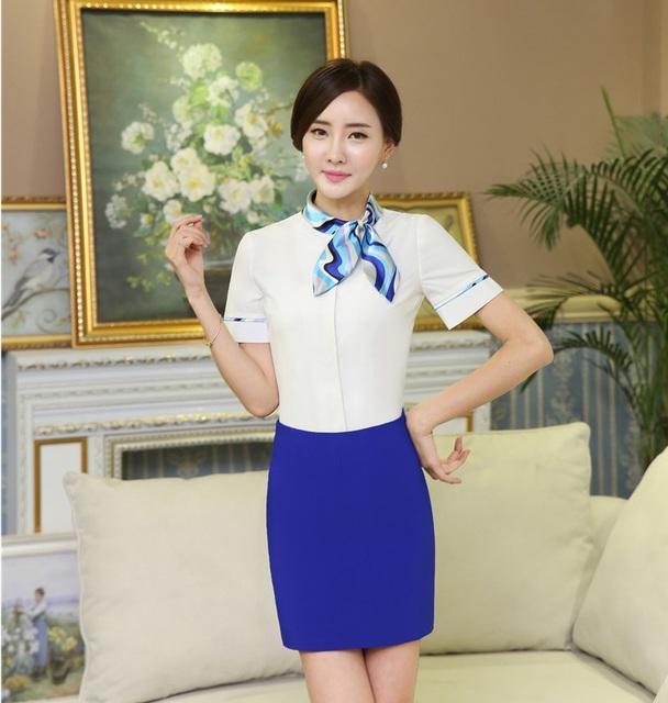 Novidade Estilo de Moda OL Saia Ternos Com Tops E Saia Senhoras Verão Outfits Com Lenço Para Salão de Beleza Profissional de Negócios