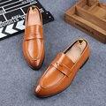 Мужчины мода офис бизнес формальные платья обувь из натуральной кожи скольжения на ленивых джентльмен обуви квартиры оксфорды мокасины дышащий