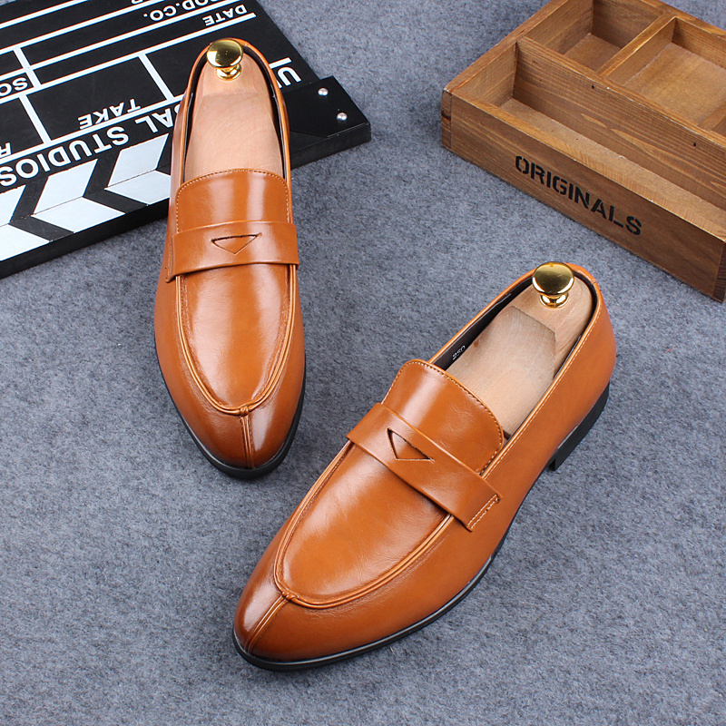 men fashion office business formal dresses genuine leather shoes slip-on lazy gentleman shoe flats oxfords loafers breathable