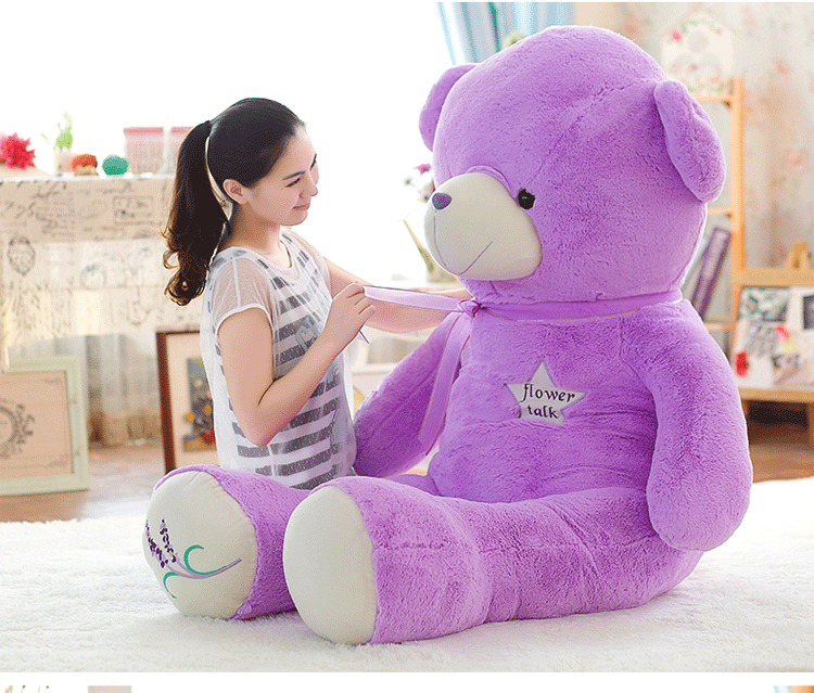 stuffed toy large 150cm purple teddy Bear plush toy silk belt bear doll hugging pillow Christmas gift,b0787 stuffed animal 120 cm cute love rabbit plush toy pink or purple floral love rabbit soft doll gift w2226
