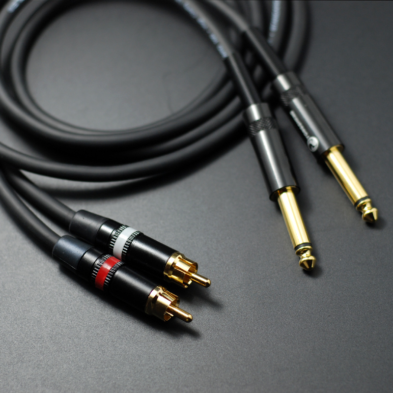 Diy Hifi Dual 6 35mm To 2 Rca Audio Cable 2 Rca To 6 5mm