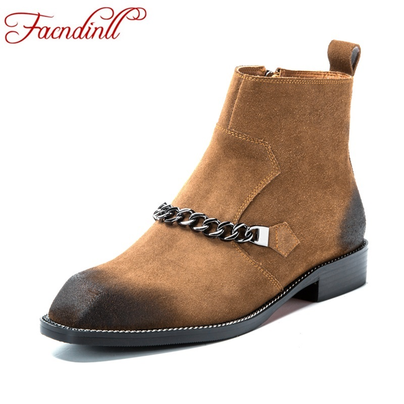 ФОТО autumn winter boots new fashion designer motorcycle ankle boots women's cool street punk chain thick heels bootie shoes woman