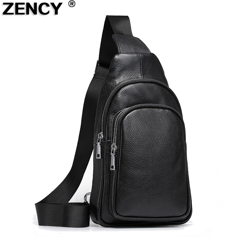 2019 New Zency Brand Top Layer Cowhide Soft Genuine Cow Leather Men's Chest Bag Male Fashion Designer Purse Shoulder Bags
