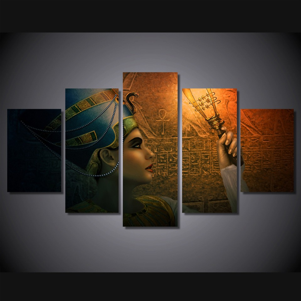 Queens of egypt canvas painting living room decoration 5 - Oil painting ideas for living room ...