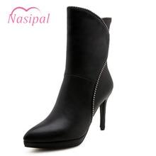 Nasipal High Heels Platform zapatos de mujer black red shoes woman zipper botas mujer feminina big