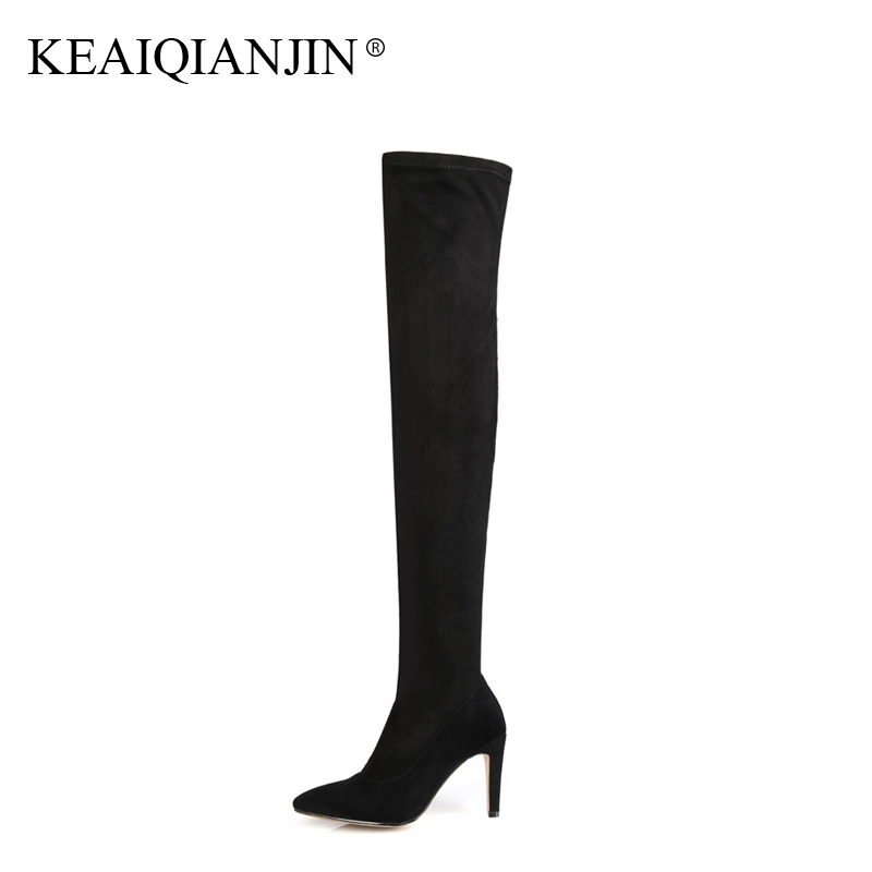 KEAIQIANJIN Woman Over The Knee Boots Black Pointed Toe Autumn Winter Shoes High Heel Boots Genuine Leather Knee High Boots ppnu woman winter nubuck genuine leather over the knee snow boots women fashion womens suede thigh high boots ladies shoes flats