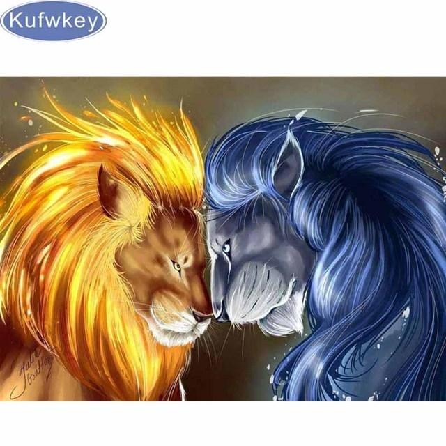 Well-known Diy Diamond Painting yin yang lion animals Cross Stitch Diamond  LM19