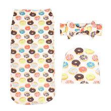 цена на Baby Blankets Printed Newborn Infant Baby Boys Girls Sleeping Swaddle Muslin Wrap +Headband+Hat 3PCS