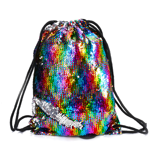 2019 Ladies Travel Sequins Backpack Women Vintage Drawstring Shoulder Beach Bag  Backpack For Teenager Student Girls
