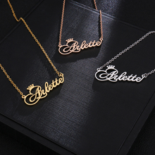 Personalized Name Custom Name Necklace Personalized Customized Necklace Crown Necklace Gold Necklaces For Women Bridesmaid Gift custom three name necklace personalized heart name necklace gold color women jewelry gift for her stainless name necklace