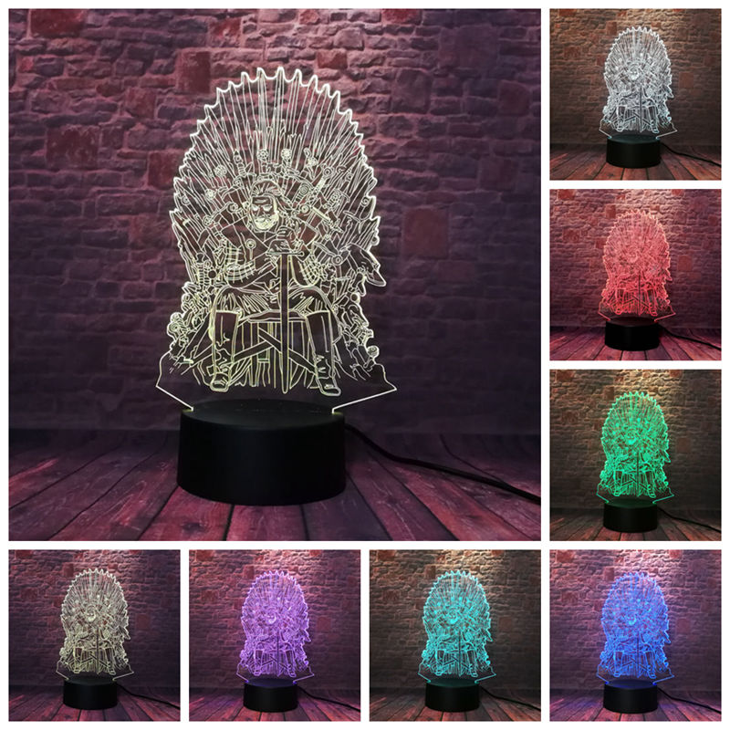 Game of Thrones Eddard Stark Figure Model 3D Illusion LED 7 Colors Changing NightLight Action & Toy Figures