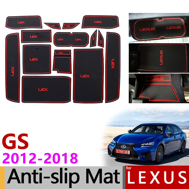 Anti-Slip Rubber Gate Slot Cup Mat for Lexus GS 250 300 350 450h F SPORT Accessories Stickers 2012 2013 2014 2015 2016 2017 2018