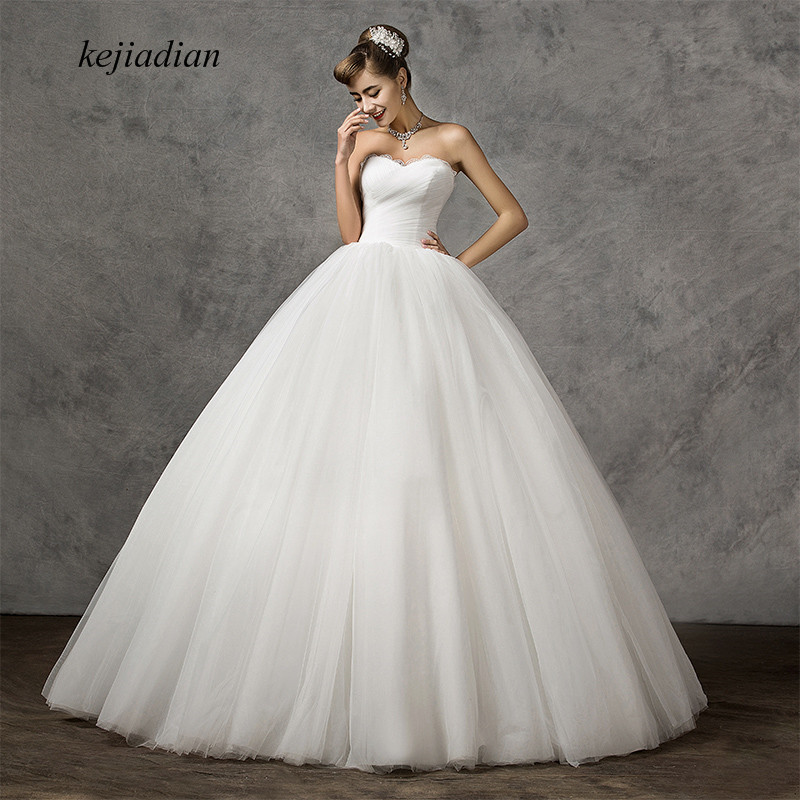 Cheap Plus Size Ball Gown Wedding Dresses: New Arrival White Wedding Dress Ball Gown 2019 A Line