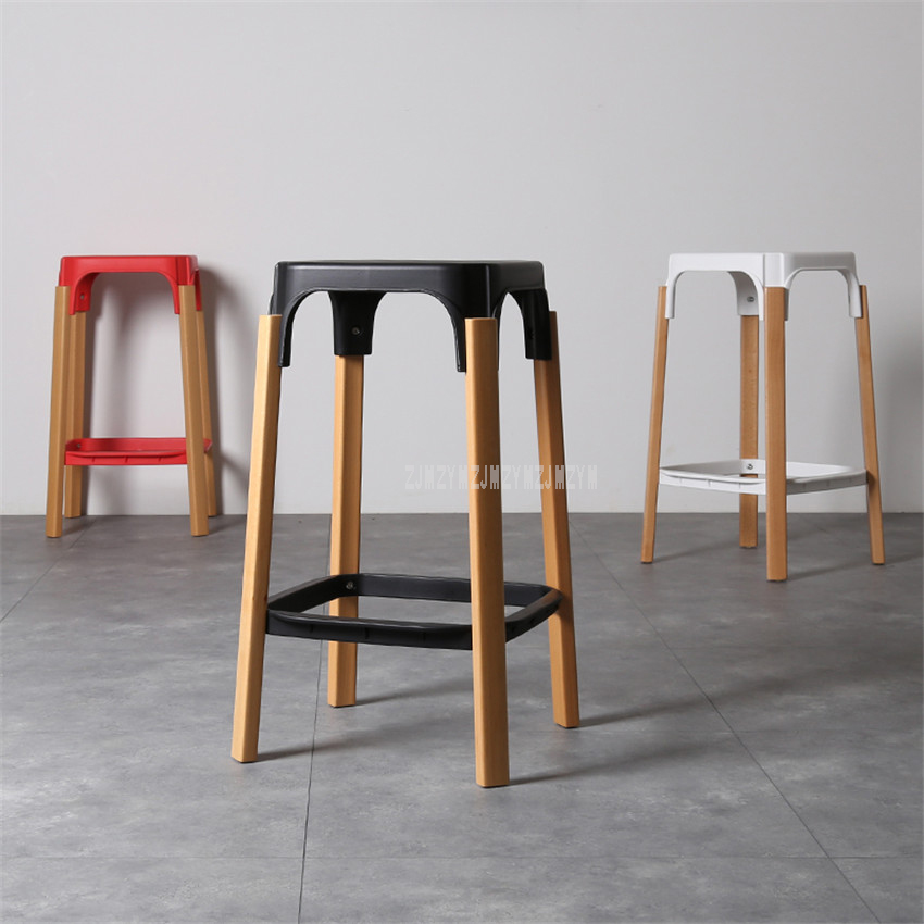 Nordic Style Modern Design Solid Wood Bar Stool Solid Wooden Leg PP Seat Home Dining Coffee Bar Counter Stool Backless 68cm