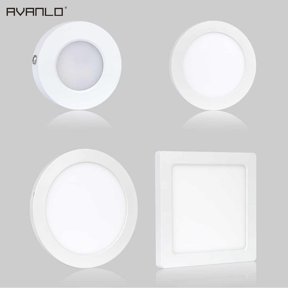 LED panel light 5W 6W 12W 18W 24W Round/Square Surface Mounted /Recessed panel led Ceiling lamp downlight kitchen ,easy install