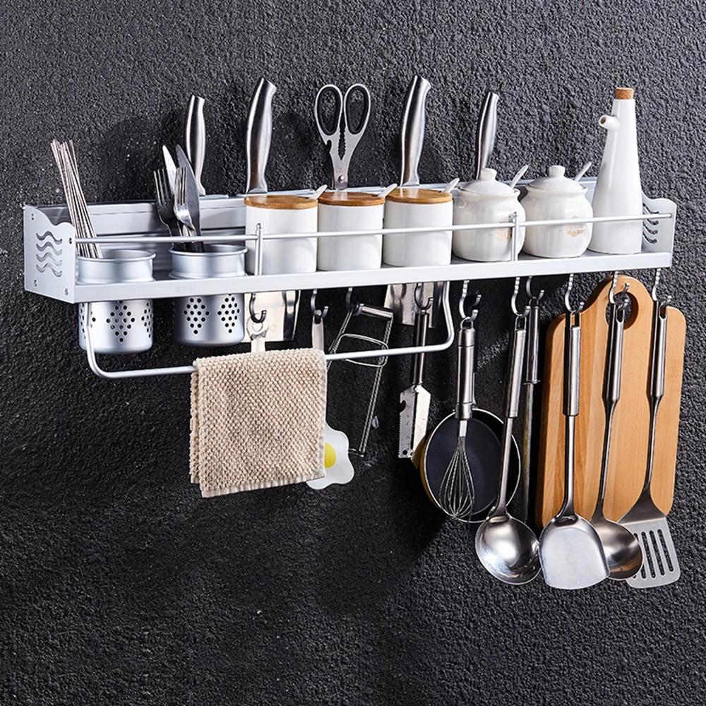 New Kitchen Good Helper Utensils Aluminum Storage Rack Organizer With Hooks Cups Multi Function Spice Holder Tools Storage Holders Racks Aliexpress