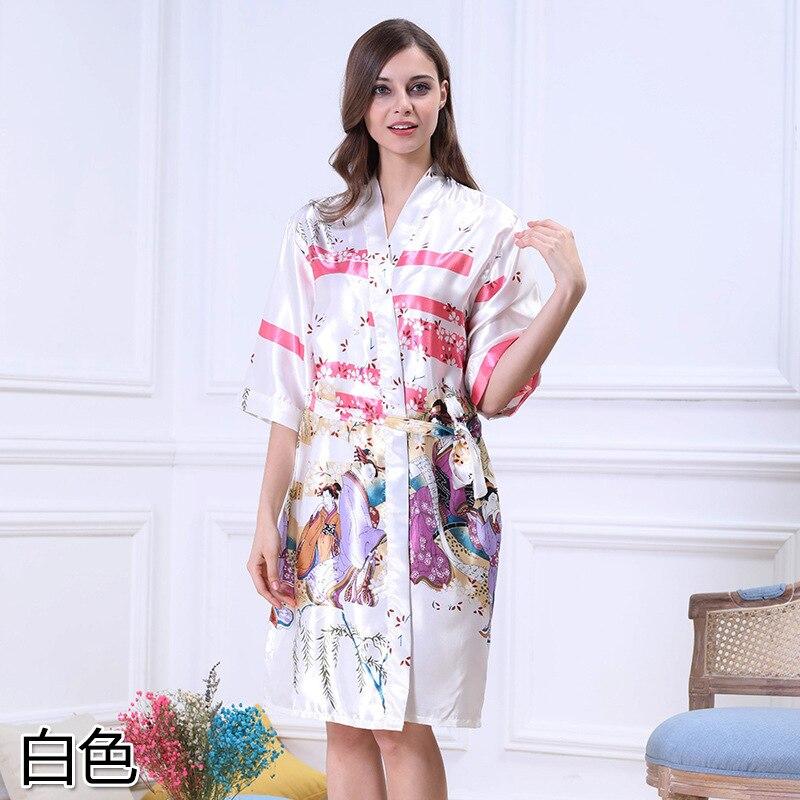 Qweek Female Sleepwear Robe Silk Dress Women Satin Robe Bathrobe