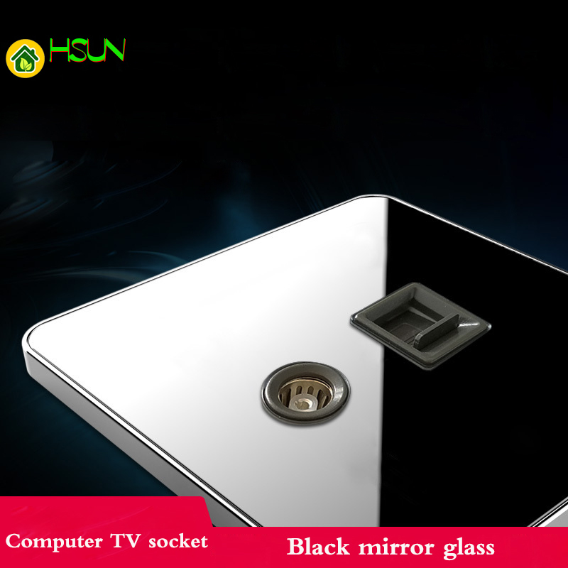 Black mirror glass Type 86 Computer TV Socket Network Telecom Broadband + TV Socket Switch Panel