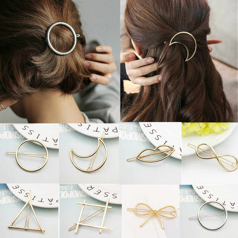 2019 Fashion Hair Clip for Women Elegant Design Triangular Moon Lip Round Barrette Stick Hairpin Hair Pins Head Accessories #01